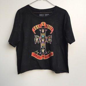 Guns N Roses Cropped Graphic Shirt Black Medium